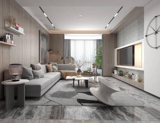 沙发组合, 茶几, 单椅, 墙饰, 电视, 边几