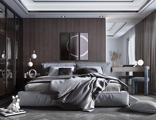 双人床, 衣柜, 梳妆台, 灯具, 单人椅, 装饰品, 摆件