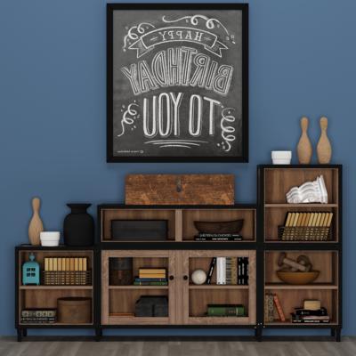 美式装饰柜, 摆件, 装饰画, 置物柜