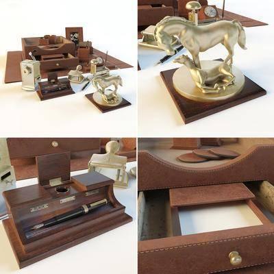 盒子, 金属摆件, 相框, 皮革, 时钟, 现代