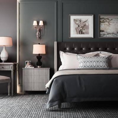 床具组合, 双人床, 床头柜, 台灯, 挂画, 装饰画, 床具, 北欧床具组合, 摆件, 装饰品, 书桌, 单椅, 椅子, 北欧