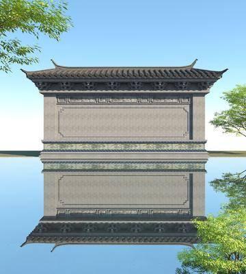 照壁, 古建筑, 一字影壁墙, 古代萧墙, 中式