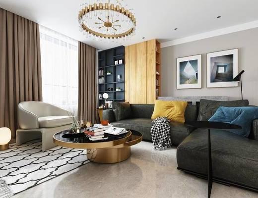 沙发, 沙发组合, 客厅, 装饰柜, 吊灯, 茶几, 挂画, 装饰画