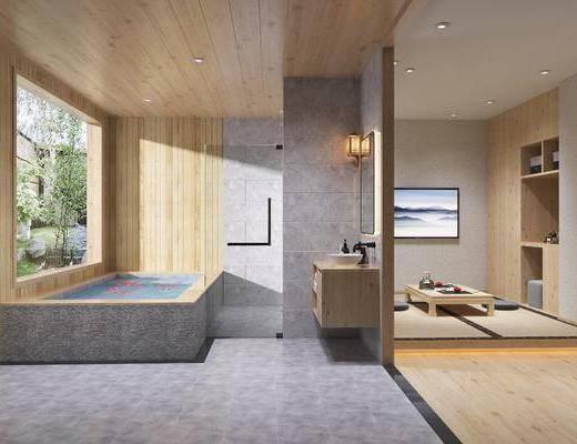 酒店客房, 日式酒店客房, 榻榻米, 浴室, 摆件组合