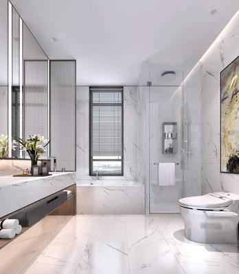 卫浴, 马桶, 装饰画, 壁镜, 洗手盆