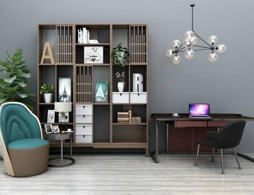 现代书桌, 现代, 书柜, 椅子, 沙发椅, 现代吊灯, 植物, 书本