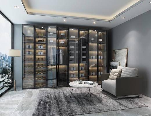 衣柜, 服饰, 单人沙发, 茶几, 落地灯, 装饰画, 铝框门衣柜, 现代
