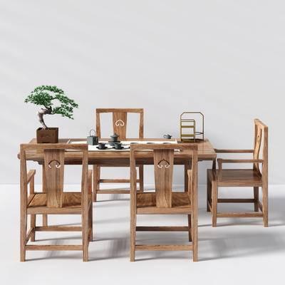 桌椅组合, 中式桌子, 中式椅子, 茶桌, 餐具, 盆栽