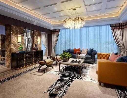 客厅, 后现代客厅, 沙发组合, 茶几, 装饰柜, 吊灯, 摆件组合, 花瓶花卉, 后现代