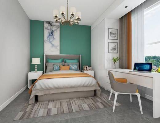 卧室, 双人床, 床头柜, 台灯, 装饰画, 挂画, 吊灯, 书桌, 单人椅, 花瓶, 花卉, 新中式