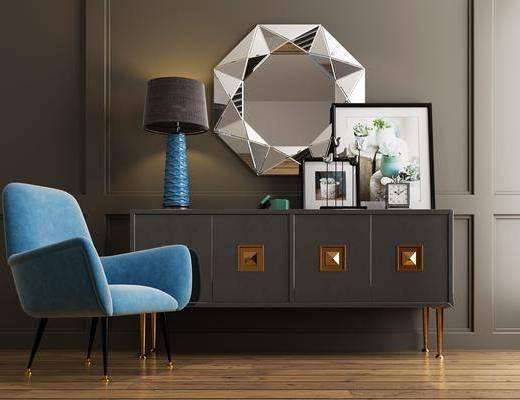 边柜, 装饰柜, 单人沙发, 墙饰, 台灯, 摆件, 装饰品, 陈设品, 休闲椅, 现代