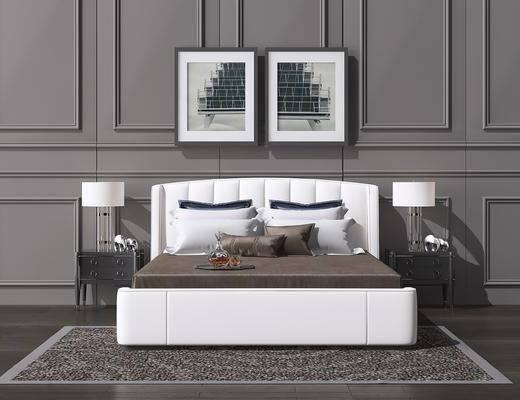 床具组合, 双人床, 床头柜, 台灯, 装饰画, 挂画, 简欧