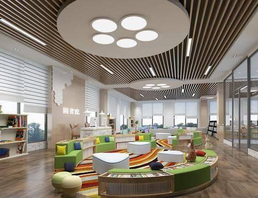 图书馆, 书籍, 书本, 置物架, 书架, 前台, 椅子, 植物, 盆栽, 现代图书馆, 现代
