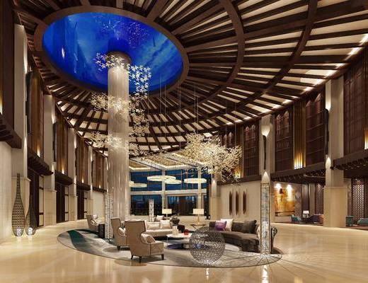 大堂, 大厅, 酒店大堂, 现代, 东南亚, 洽谈区, 会客区