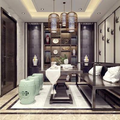 茶室, 新中式茶室, 新中式, 桌椅组合, 凳子, 桌子, 沙发, 置物柜, 摆件, 装饰品, 墙饰, 吊灯, 茶具