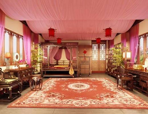 中式, 卧室, 双人床, 边柜, 椅子, 桌子, 吊灯, 地毯