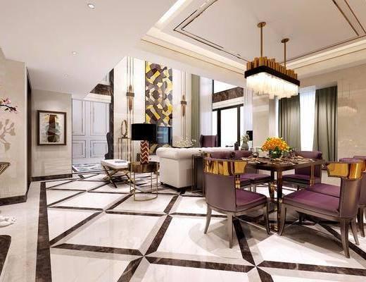 现代别墅客餐厅, 现代, 客厅, 餐厅, 现代吊灯, 装饰画, 别墅