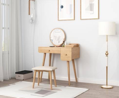 實木梳妝臺, 掛畫組合, 北歐