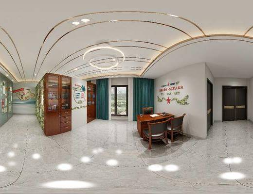 会议室, 吊灯, 书柜, 桌椅组合, 墙饰
