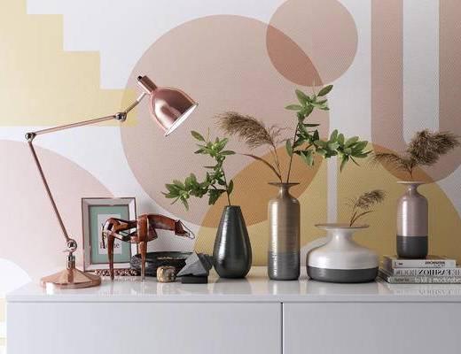 台灯, 相框马, 摆件, 书籍, 摆件组合, 花瓶