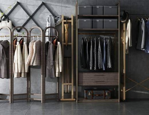 衣架, 衣柜, 鞋柜, 衣服, 鞋子, 一股, 箱子, 现代, 工业风, 雨伞