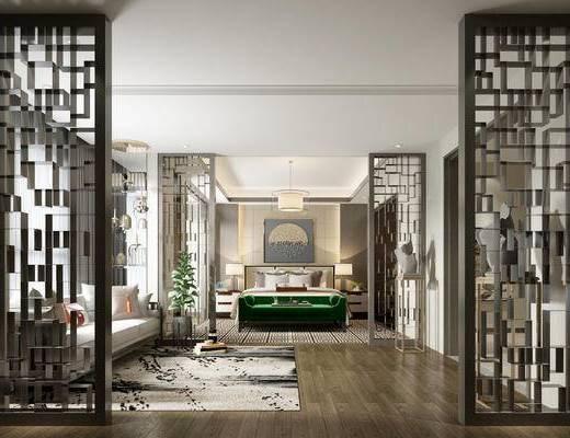 中式, 别墅, 卧室, 沙发, 双人床, 摆件
