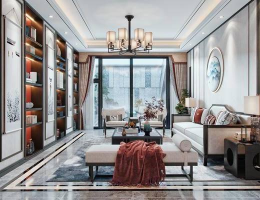 客厅, 庭院, 墙饰, 沙发组合, 茶几, 摆件组合