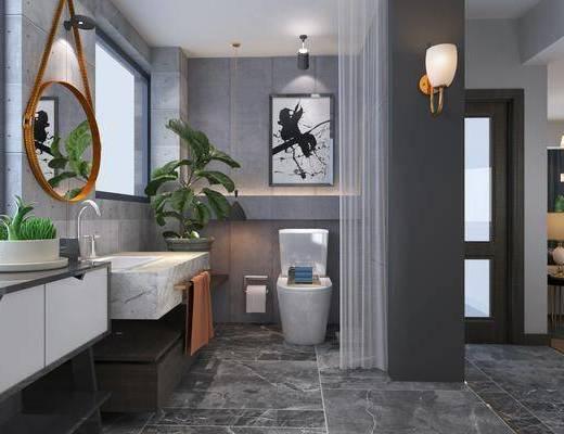 卫生间, 浴缸, 花洒, ?#35789;?#21488;, 盆栽, 绿植植物, 马桶, 吊灯, 装饰画, 挂画, 北欧