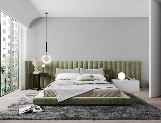 现代轻奢简约卧室, 双人床, 吊灯