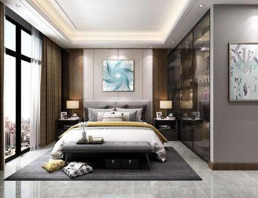 卧室, 双人床, 床头柜, 台灯, 装饰画, 挂画, 衣柜, 装饰柜, 服饰, 抱枕, 现代