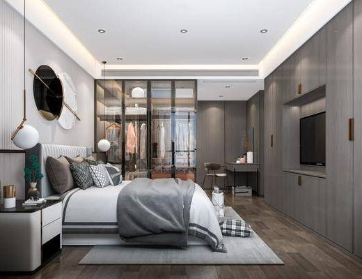 双人床, 墙饰, 吊灯, 床头柜, 衣柜, 服饰, 衣架