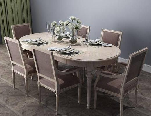 桌椅組合, 餐具組合, 花瓶花卉, 簡歐