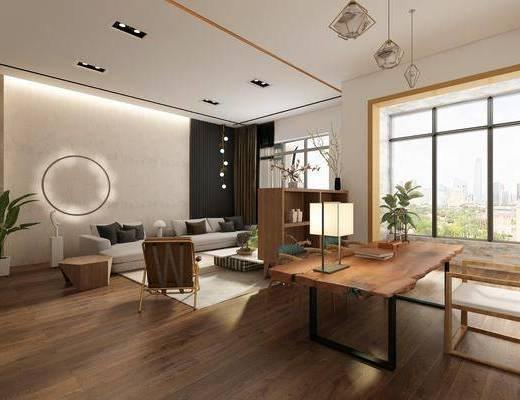 客厅, 多人沙发, 躺椅沙发, 茶几, 单人椅, 盆栽, 躺椅, 茶桌, 台灯, 装饰柜, 吊灯, 花瓶, 花卉, 摆件, 装饰品, 陈设品, 现代