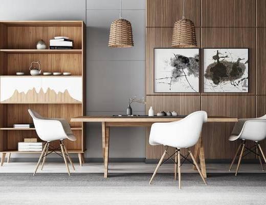 餐桌椅, 书柜, 边柜, 装饰画, 吊灯, 单椅, 新中式