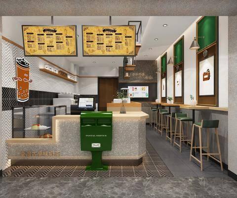 奶茶店, 吧台, 吧椅, 单人椅, 前台, 壁灯, 现代