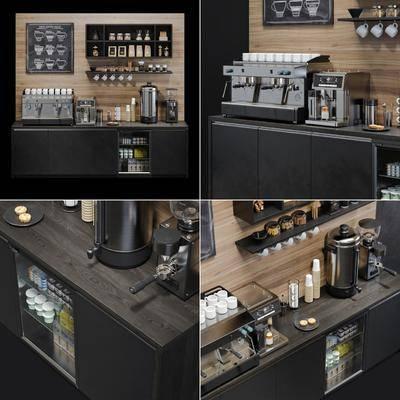 咖啡机, 厨房电器, 饮料, 水壶杯, 储物柜组合, 现代