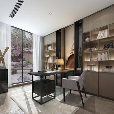 书房, 书桌, 单人椅, 装饰柜, 书柜, 台灯, 摆件, 装饰品, 陈设品, 书籍, 现代