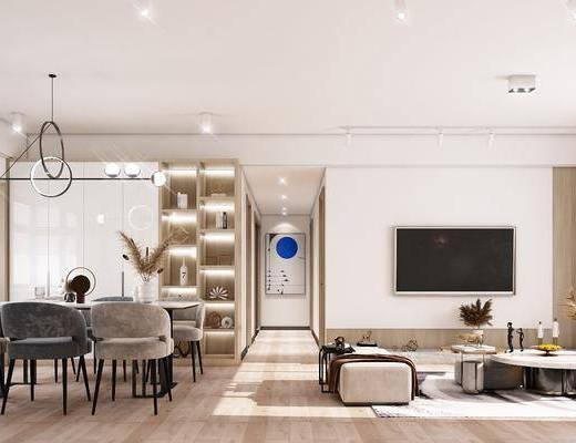 沙发组合, 茶几, 单椅, 餐桌, 装饰画, 吊灯
