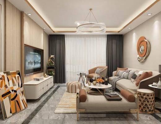 现代, 客厅, 多人沙发, 单人沙发, 沙发凳, 电视柜, 摆画, 吊灯, 边几, 台灯
