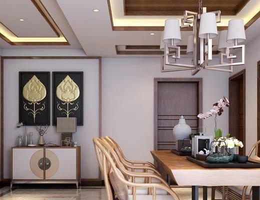 餐厅, 茶室, 边柜, 吊灯, 餐桌椅, 桌子