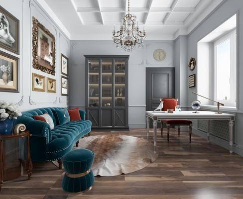 桌椅组合, 沙发组合, 装饰画, 吊灯, 装饰柜