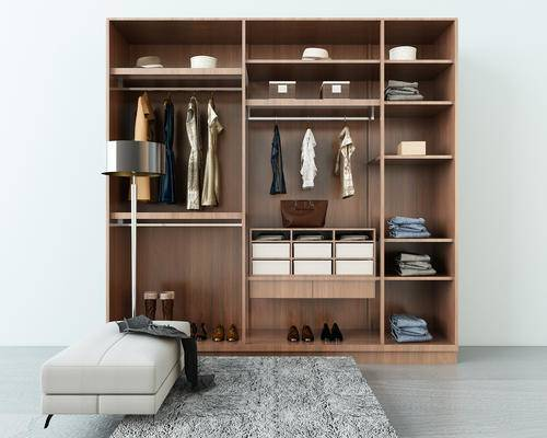 衣柜, 现代衣柜, 衣服, 衣物, 脚踏, 鞋子, 台灯