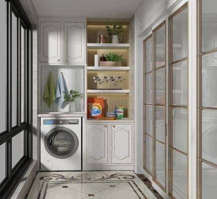 现代, 阳台, 洗衣机