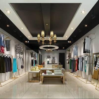 服装店, 挂衣架, 衣服专卖店, 现代, 衣架, 吊灯, 装饰架, 服装, 衣服
