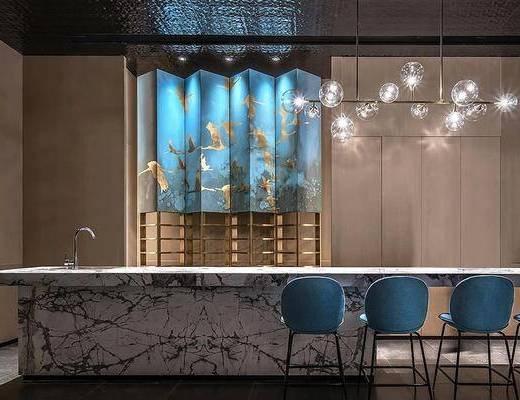 现代餐厅, 现代餐厅吊灯, 现代吧台, 现代吧椅