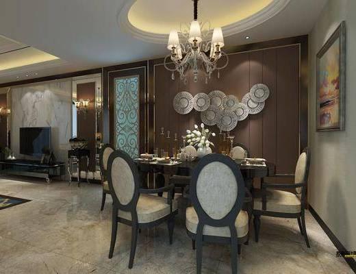 新古典客餐厅, 餐桌椅组合, 美式吊灯, 沙发茶几组合, 墙面装饰, 壁灯