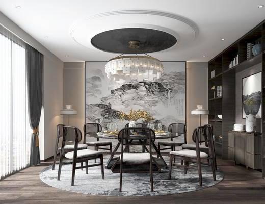 圆餐桌, 餐椅, 吊灯, 挂画, 边柜, 书柜, 餐具, 装饰品