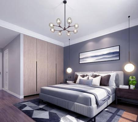 现代卧室, 双人床, 床头柜, 吊灯, 现代