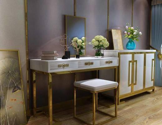 金属梳妆台, 边柜, 装饰柜, 装饰画, 挂画, 凳子, 摆件, 装饰品, 陈设品, 新中式