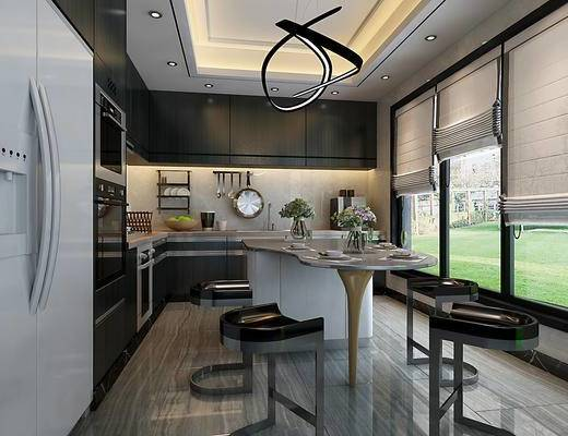 现代简约厨房, 冰箱, 吧台, 橱柜, 吊柜, 燃气灶, 油烟机, 厨房五金小件, 消毒柜